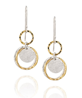 Stylish Multi Circles Silver & Gold Infinify Dangle Earrings for Women