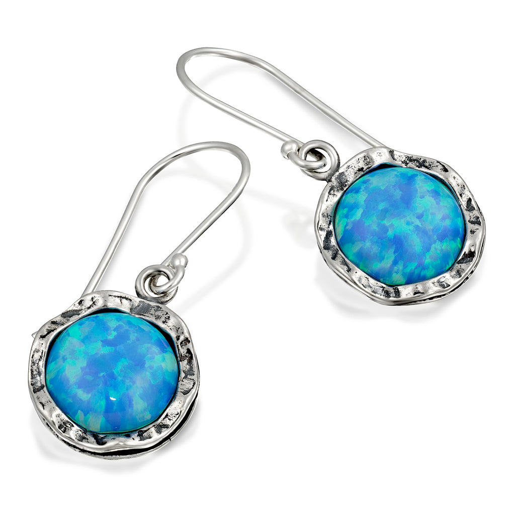 Shimmering Round 925 Sterling Silver Drop Earrings with 10mm Created Blue Fire Opal