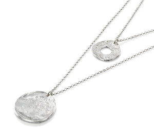 Multi Layer 925 Sterling Silver Necklace With Hammered Textured Wheel & Circle Pendants, 22.5""
