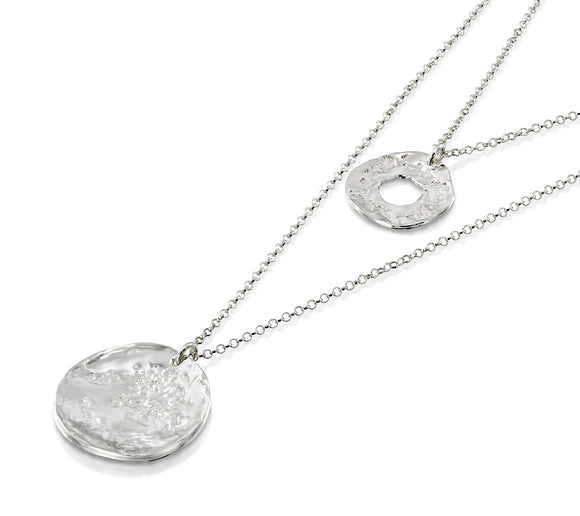 Multi Layer 925 Sterling Silver Necklace With Hammered Textured Wheel & Circle Pendants, 22.5