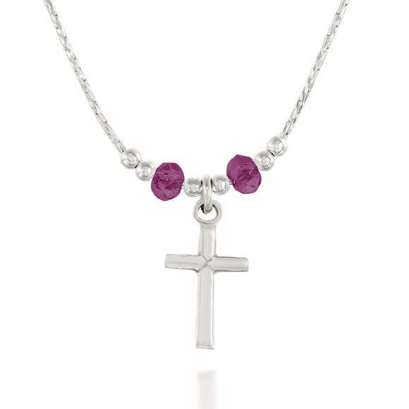 Choice of Swarovski Crystal Colors Purple Blue Paradise Shine or Yellow Girls Dainy Silver Cross Pendant Necklace, 16