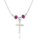 "Choice of Swarovski Crystal Colors Purple Blue Paradise Shine or Yellow Girls Dainy Silver Cross Pendant Necklace, 16"" + 4"" Extender"
