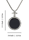 925 Sterling Silver 18mm Black Onyx Pendant Necklace, 20""