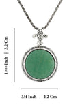 925 Sterling Silver 18 mm Green Aventurine Pendant Necklace, 20""