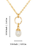 "Gold Pearl Pendant Necklace Bridal Bridesmaids Wedding Jewelry, 18""+4"" Extender"