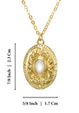 "Antique Style Gold Mother of Pearl Oval Pendant Necklace, 18"" + 4"" Extender"