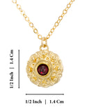 "Red Garnet Gemstone Flower Pendant Gold Plated Silver Necklace, 18""+4"" Extender"
