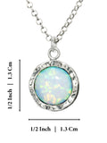 "925 Sterling Silver 10mm White Opal Round Pendant Necklace, 18"" + 4"" Extender"