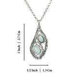 "925 Sterling Silver Teardrop Silver White Opal Pendant Necklace, 18""+4"" Extender"