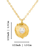 "Antique Style Gold Pearl Pendant Necklace Bridal Wedding Jewelry, 18"" + 4 Extender"
