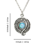 "Retro Design Created White Opal Round Swirl Pendant 925 Sterling Silver Necklace, 18"" + 4"" Extender"