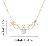 "Unique Women's Aqua Quartz Pendant Gold Layering Necklace, 18""+4"" Extender"