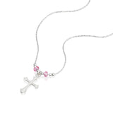 "Girls Ornate Silver Cross Pendant Necklace with Pink Swarovski Crystals, 16"" + 4"" Extender"