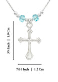 "Girls Ornate Silver Cross Pendant Necklace with Light Blue Swarovski Crystals, 16"" + 4"" Extender"