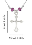 "Girls Ornate Silver Cross Pendant Necklace with Purple Swarovski Crystals, 16"" + 4"" Extender"