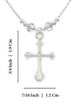 "Girls Ornate Silver Cross Pendant Necklace with 2 Swarovski Crystals Paradise Shine, 16"" + 4"" Extender"