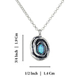 "Rose Pendant with Created Blue Fire Opal in 925 Sterling Silver Necklace, 18"" + 4"" Extender"