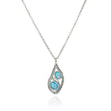 "Teardrop Silver Blue Fire Opal Pendant Necklace, 18""+4"" Extender"