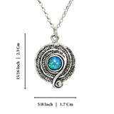 "Retro Created Blue Fire Opal Swirl Pendant 925 Sterling Silver Necklace, 18"" + 4"" Extender"