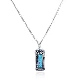 "Ornate Rectangle Created Blue Fire Opal Pendant 925 Sterling Silver Necklace, 18"" + 4"" Extender"
