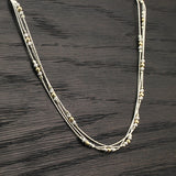 "Women's Triple Strand Silver & Gold Beads Necklace, 18""+4"" Extender"