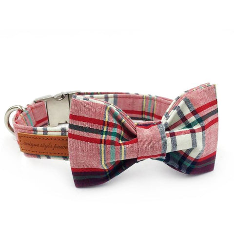 Plaid Collar With Bow Tie Metel Buckle