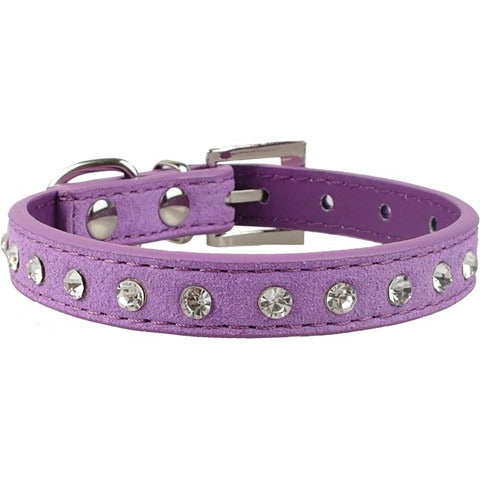 Clear rhinestones soft suede leather collar - furry-tale