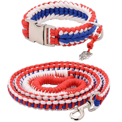 America Paracord Collar And Leash With Silvery Buckle
