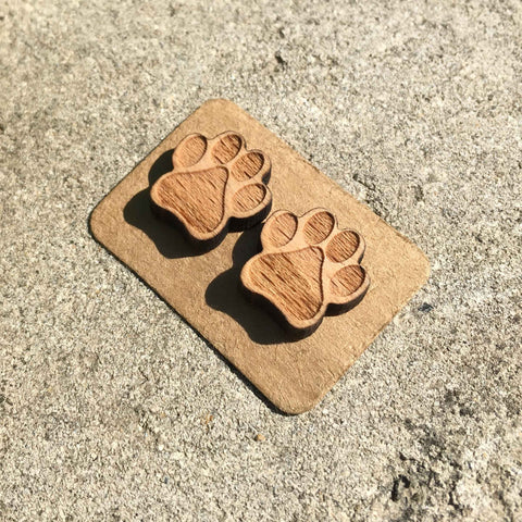Engraved Dog Paw Earrings - furry-tale
