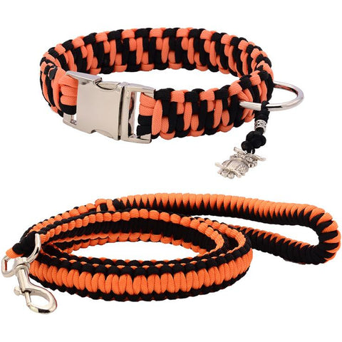 Orange & Black Paracord Collar And Leash With Silvery Buckle