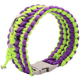 Purple & Green Paracord Collar And Leash With Silvery Buckle