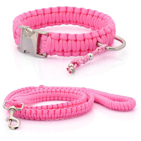 Pink Paracord Collar And Leash With Silvery Buckle