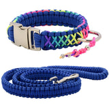 Rainbow Paracord Collar And Leash With Silvery Buckle