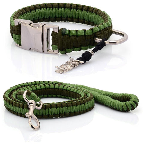 Navy Green Paracord Collar And Leash With Silvery Buckle