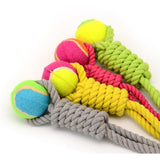 Tennis Ball and Cotton Rope Toy - furry-tale