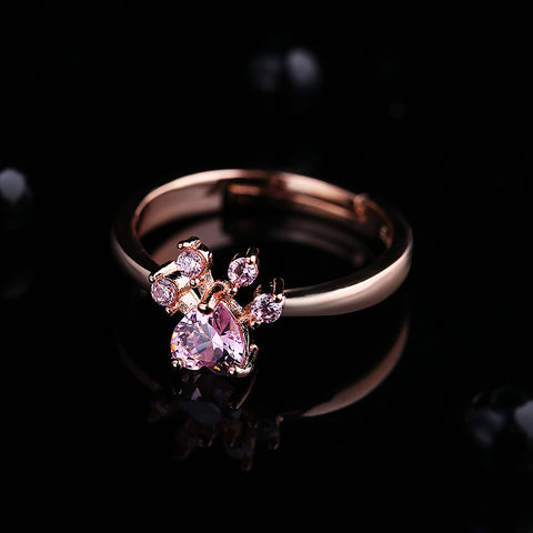 Paw Gold Rose Ring - furry-tale