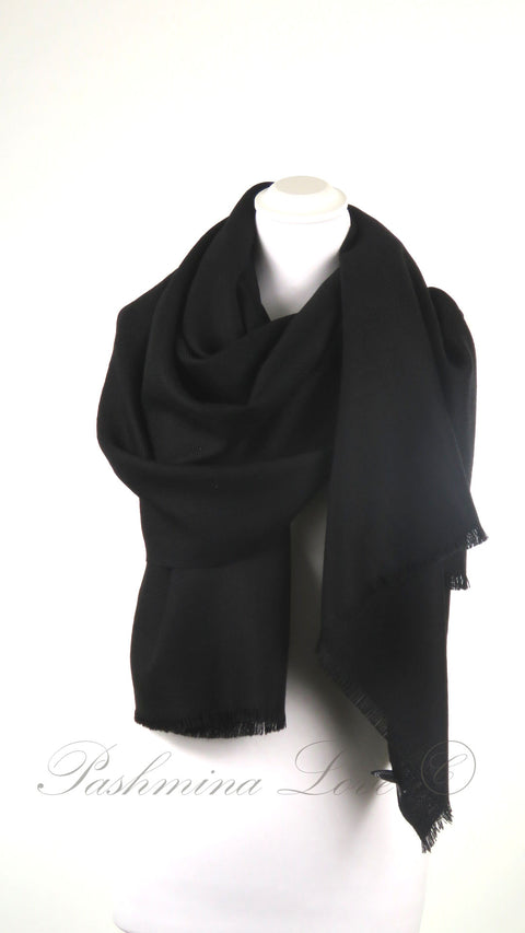 Superior Dubbellaagse Pashmina Midnight Black