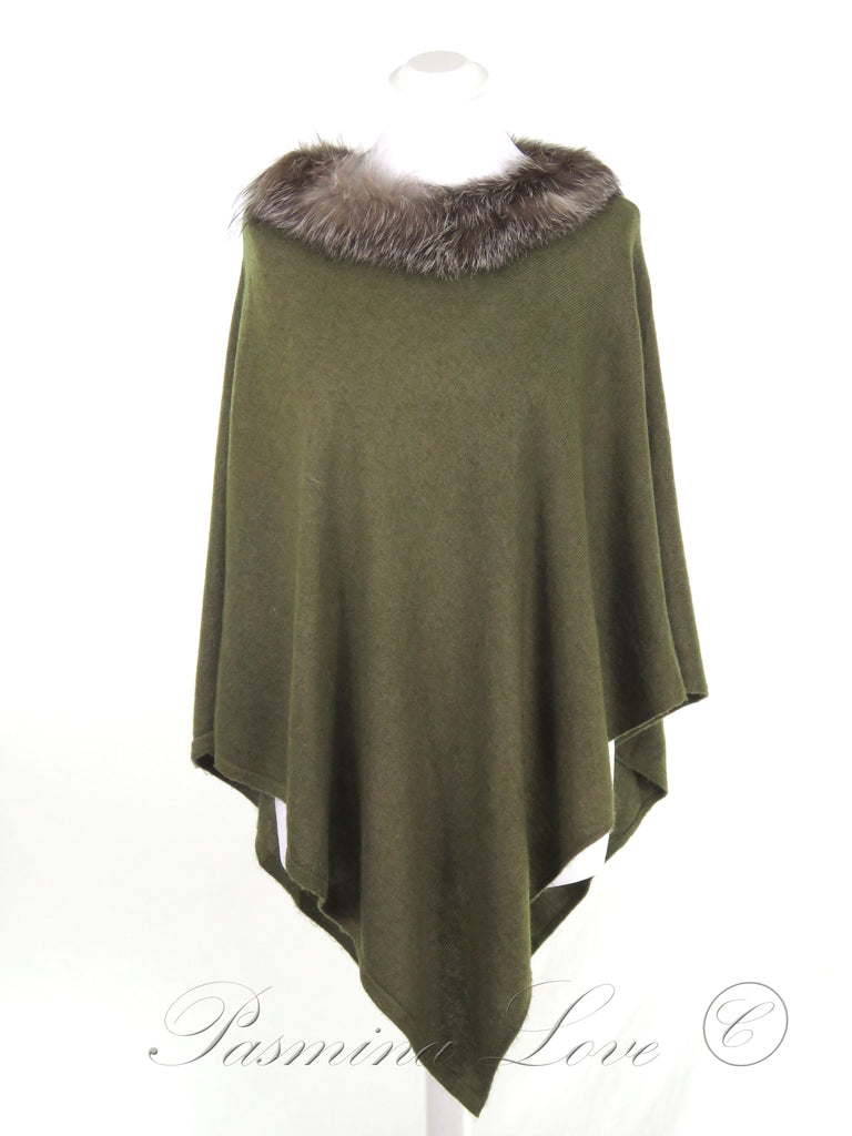 Cashmere Poncho Olive