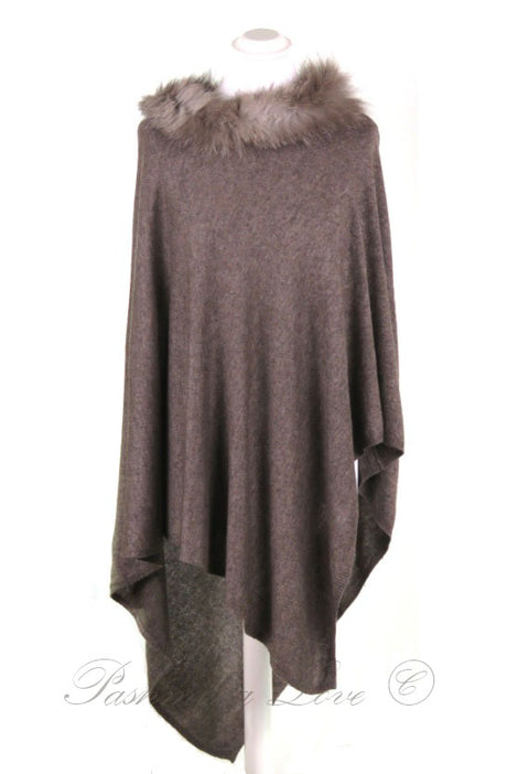 Cashmere Poncho Umber