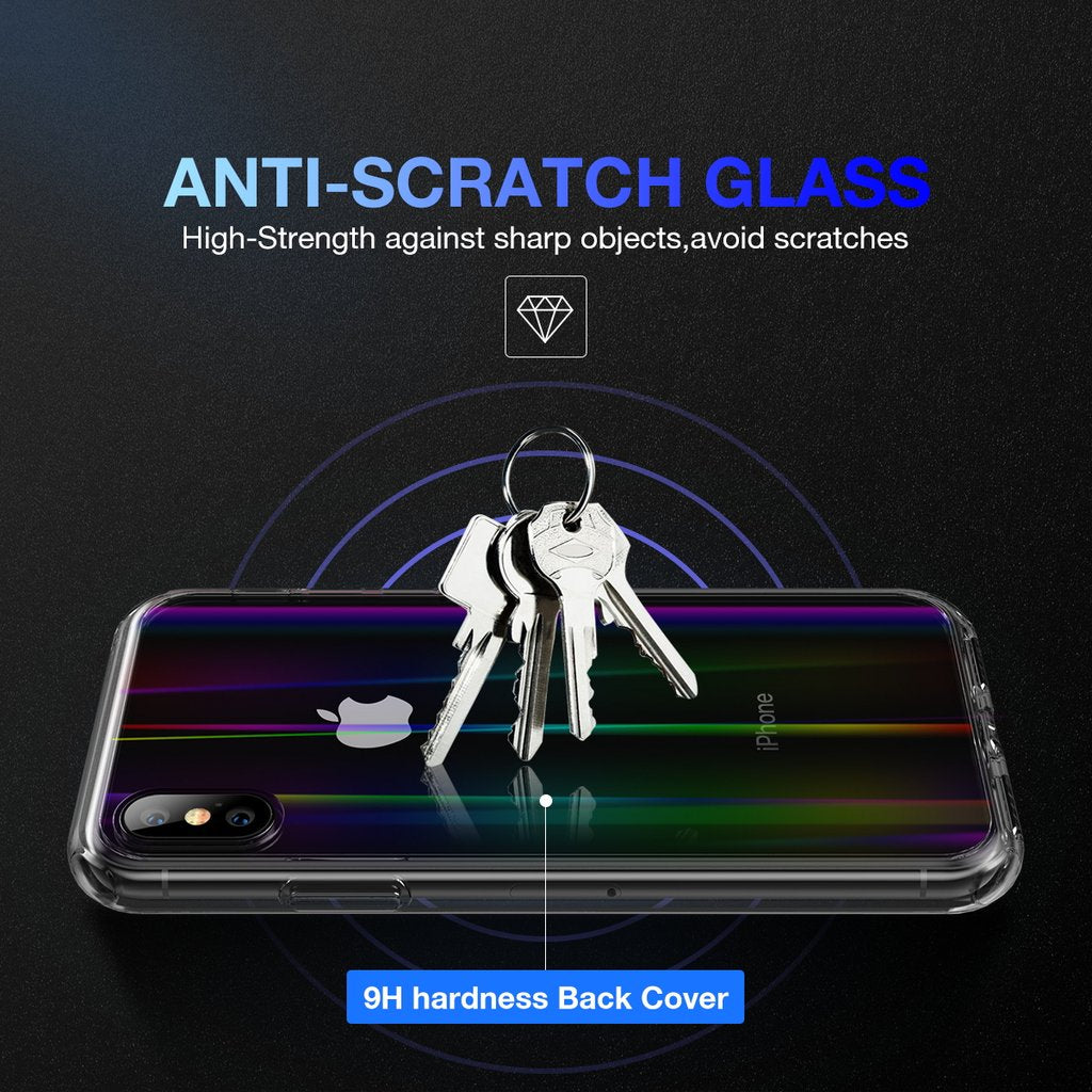 "Luxury Laser Aurora Ultra Slim Shockproof Crystal Clear Hard Back with Soft Silicone Frame Back Case Cover for iPhone XS Max (6.5"")"