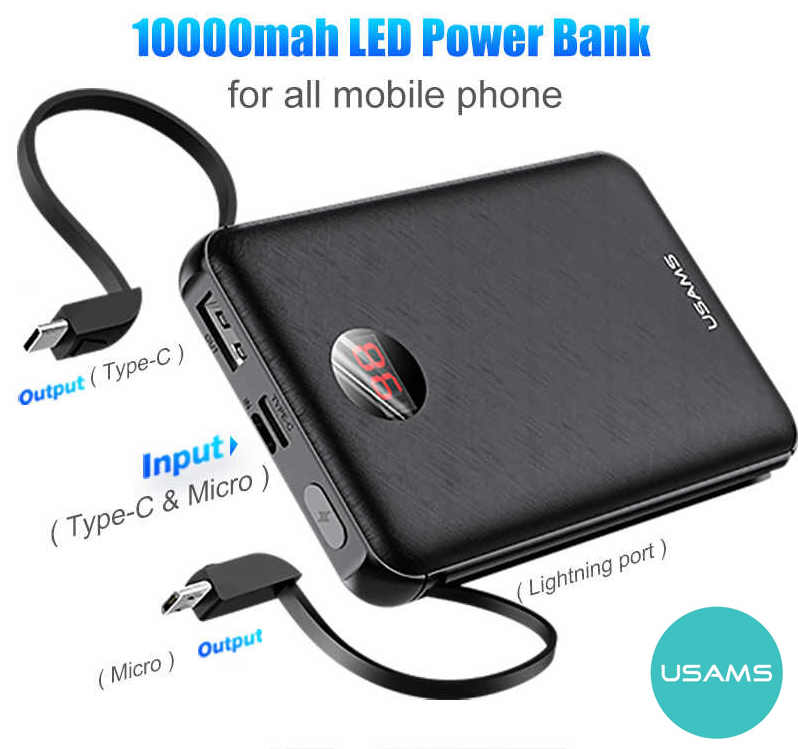 USAMS 10000mAh Mini Power bank with 3 Inbuilt Cables