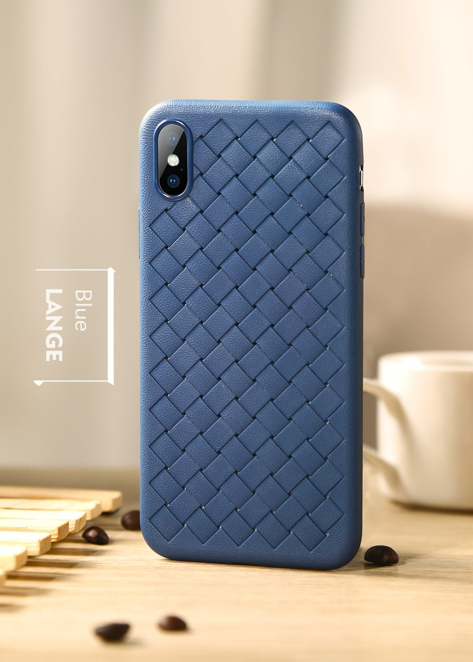 "Premium Classic Grid View Leather Finish Protective Back Case Cover for Apple iPhone XS Max (6.5"")"