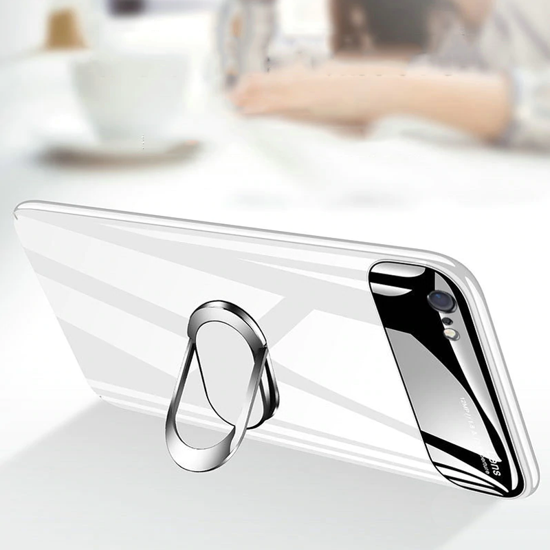 Luxury Smooth Mirror Effect Ring Holder Kickstand Back Case for Apple iPhone X / XS