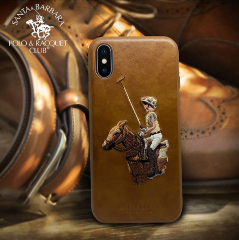 "Luxury Santa Barbara Polo & Racquet Club Genuine Leather Hard Back Case Cover for Apple iPhone XS Max (6.5"")"