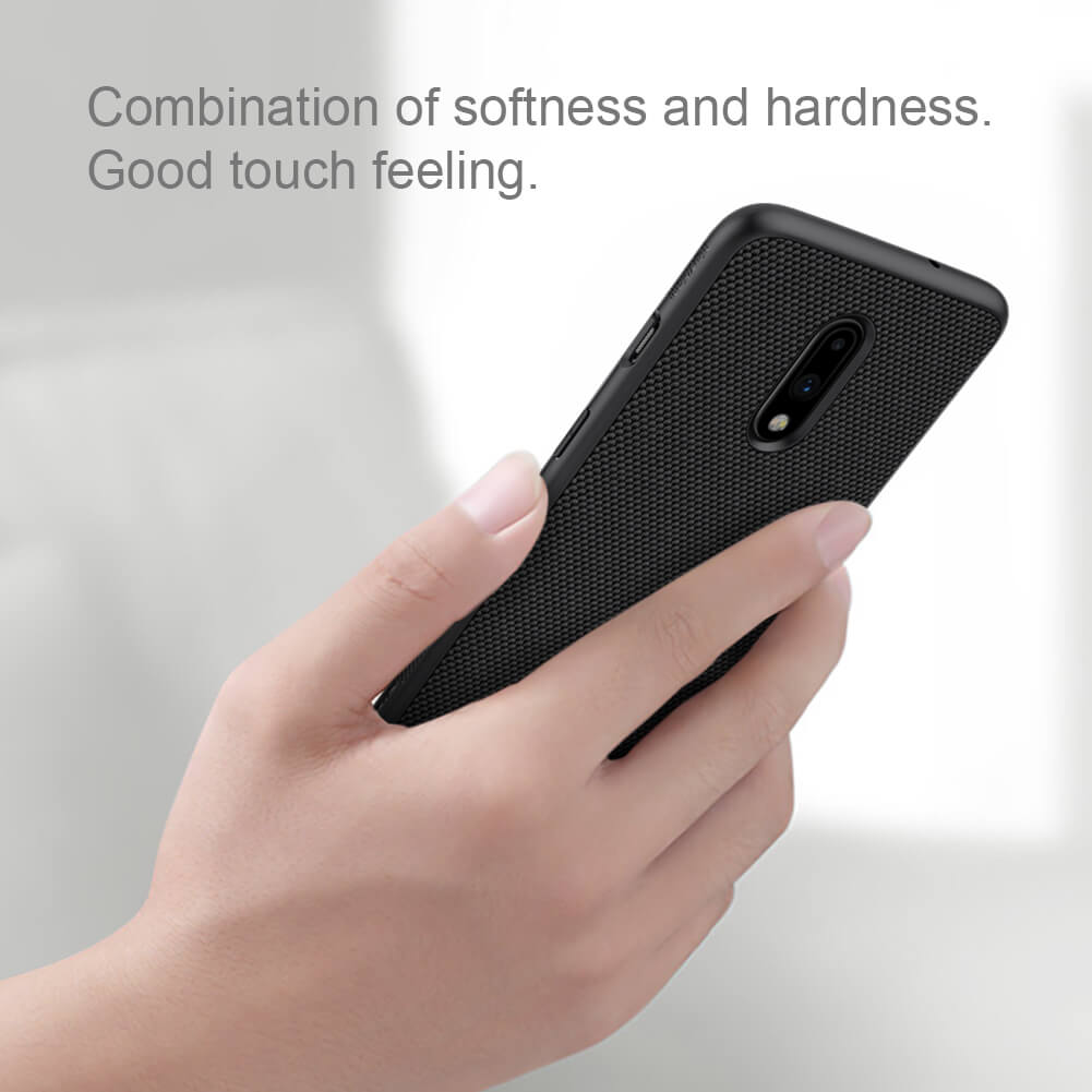 Luxury Nillkin Texture Series Nylon Knitted Finish Back Case with Soft TPU Armour Frame - BLACK