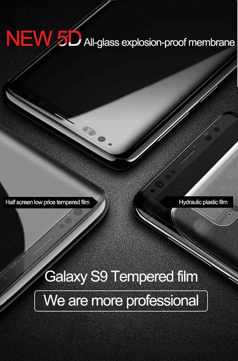 Premium Panama® Titanium Glass 360 Pro Edge Curved Anti Shatter Tempered Glass Screen Protector for Samsung Galaxy S9 - BLACK