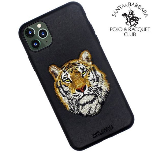 "Santa Barbara Polo & Racquet Club Savanna Series Genuine Leather Case for Apple iPhone 11 6.1"" - Tiger"