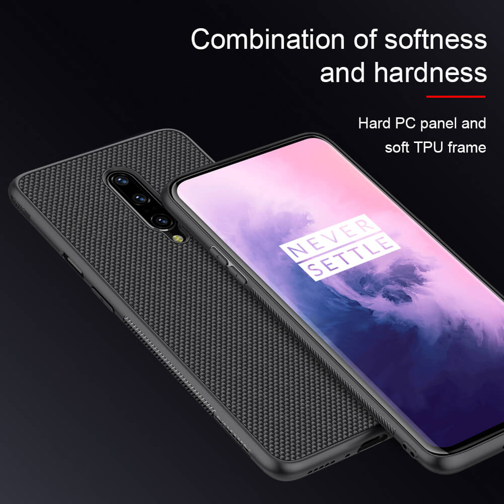 Luxury Nylon Knitted Finish Soft TPU Armour Frame Back Case for OnePlus 7 Pro - BLACK