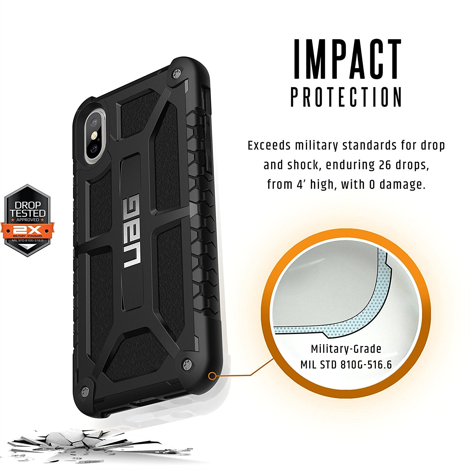 UAG Monarch Military Tested Carbon Fiber Rugged Back Case Cover for Apple iPhone X / XS 2018