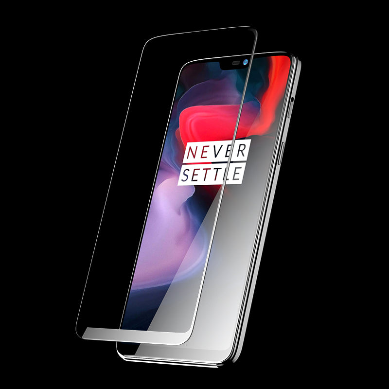 Henks Real 5D Full Glue Full Cover Anti Shatter Tempered Glass Screen Protector for OnePlus 6 / One Plus 6 - BLACK